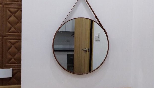 Thiết kế nội thất gỗ trong không gian gương phòng ngủ dây da