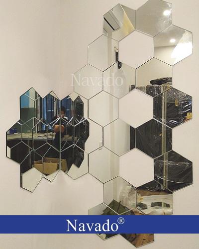 Gương trang trí ghép tường hình lục giác
