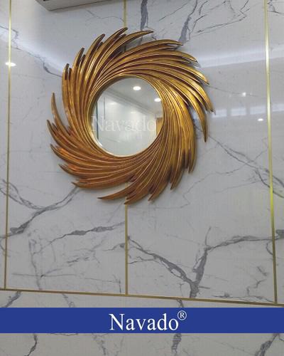 Gương decor treo tường khung vàng Nut