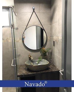 Gương tròn dây da phòng tắm 60Cm