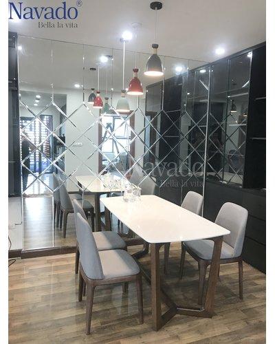 Gương ghép ô trang trí bàn ăn phòng khách Navado
