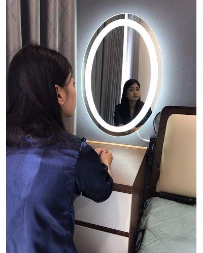 Gương led treo dây da D60cm