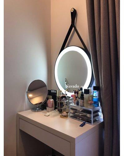 Gương trang điểm led dây da đen D50cm