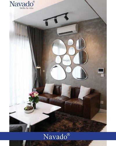 Gương decor phòng khách Bãi đá