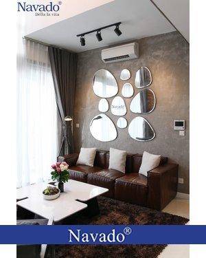 Gương decor trang trí phòng khách gương bãi đá