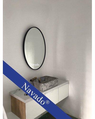 Gương phòng tắm khung đen elip 603C