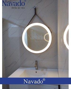 Gương dây da đèn led phòng tắm cao cấp navado