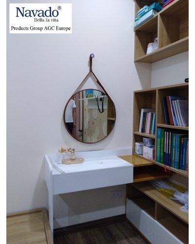 Gương trang điểm tròn dây da Navado 50cm