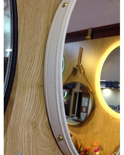 Gương trang điểm treo dây da nâu D50cm