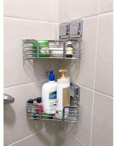 Phụ kiện inox phòng tắm kệ góc hai tầng dán tường