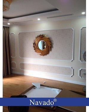 Gương phòng khách tân cổ điển Nut gold