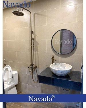 Gương phòng tắm tròn decor treo tường