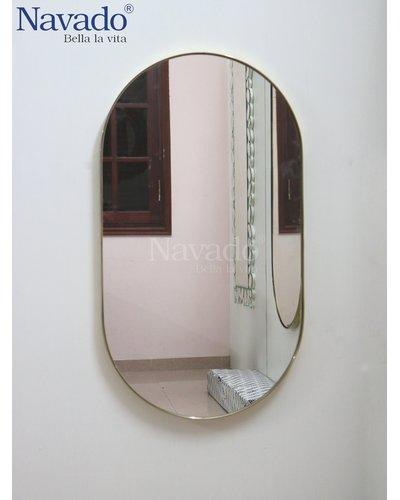 Gương phòng tắm bo đầu tròn inox 304 mạ vàng