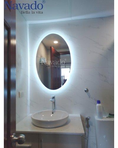 Gương nhà tắm đèn led elip Quảng Ninh 50 x 90cm