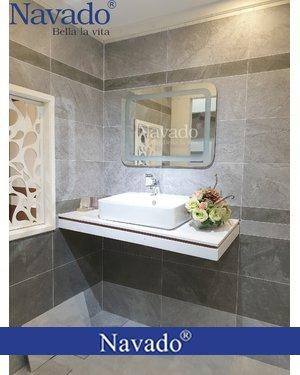 Gương nhà tắm đèn led bo góc chữ nhật TPHCM