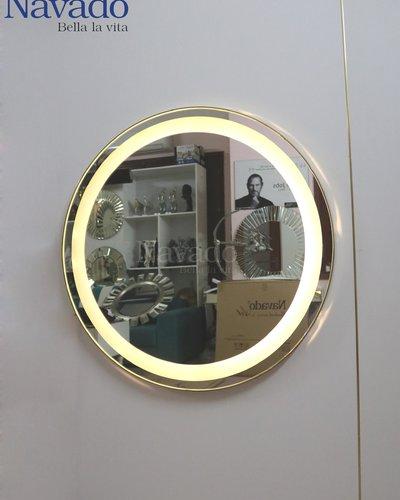 Gương tròn khung inox đèn led