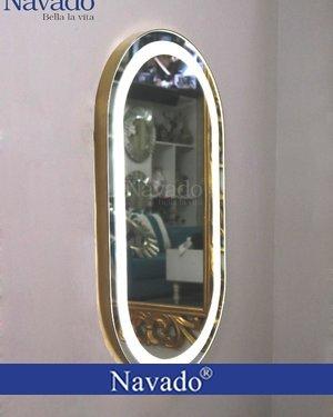 Gương khung inox phòng tắm đèn led
