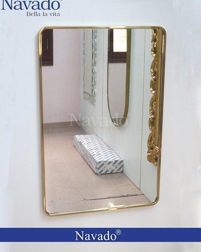 Gương phòng tắm khung inox vàng cao cấp