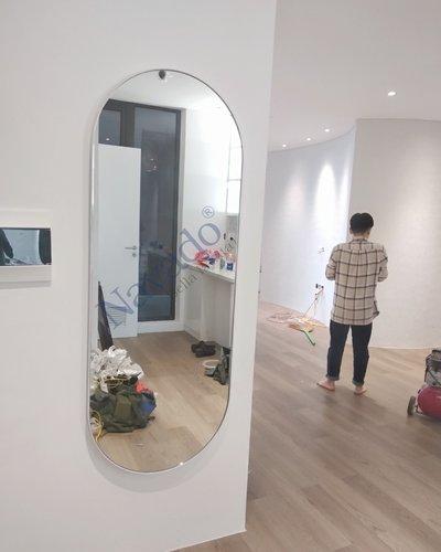 Gương soi toàn thân khung thép bọc da cao cấp