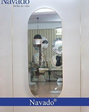Gương khung bọc da soi toàn thân treo tường