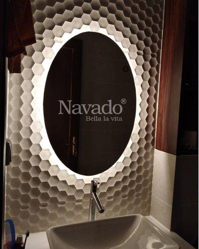 Gương nhà tắm đèn led Elip 550x800