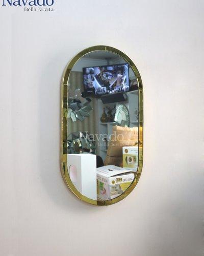 Gương vành inox viền vàng bo 2 đầu