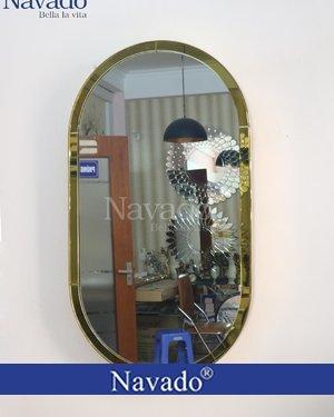 Gương màu bầu dục vành inox vàng cong cao cấp