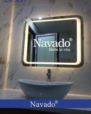 Gương nhà tắm đèn led bo góc KT 800x1200