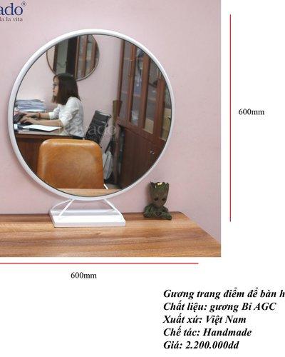 Gương tròn để bàn trang điểm cao cấp phi 60cm