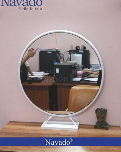 Gương tròn để bàn trang điểm vành thép D60cm