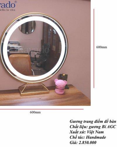 Gương để bàn trang điểm đèn led D60cm