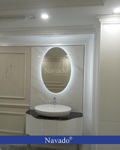 Gương phòng tắm đèn led trắng hình Elip
