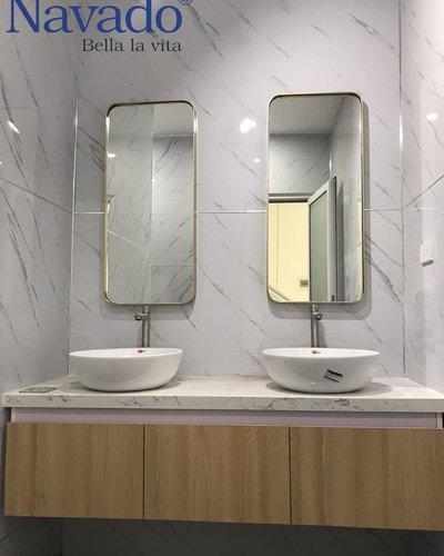 Gương phòng tắm khung inox bo góc