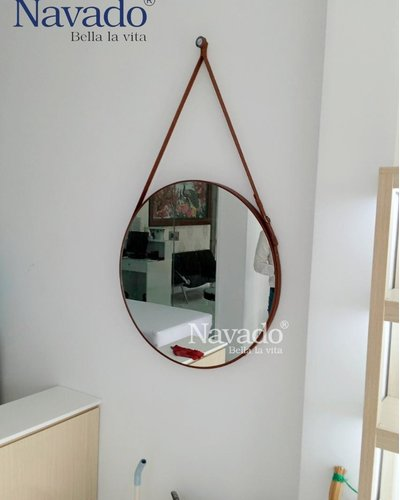 Gương treo dây da nâu D50cm