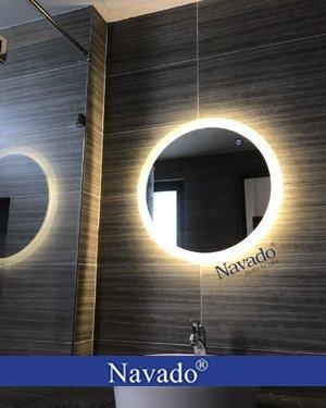 Gương tròn đèn led vàng D60cm