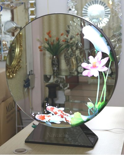 Gương trang điểm nghệ thuật cao cấp để bàn có đèn 3D