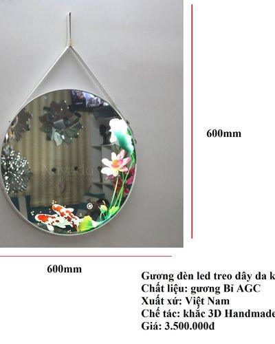 Gương nghệ thuật 3D treo dây da