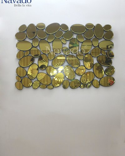 Gương trang trí treo tường phòng khách vàng Gold
