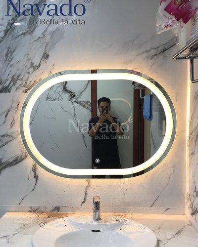 Gương phòng tắm led bo đầu 60 x 80cm