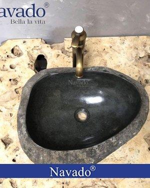 Chậu rửa mặt Lavabo đá cuội decor Quảng Ninh