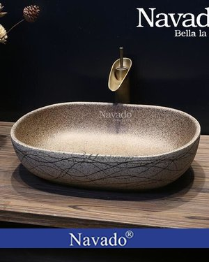 Chậu rửa mặt Lavabo đá cuội decor Đà Nẵng
