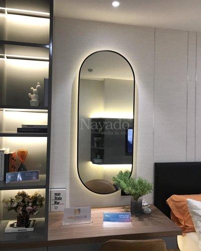 Gương trang điểm phòng ngủ cao cấp đèn led khung thép mạ