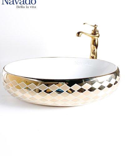 Bộ vòi và chậu sứ nghệ thuật phòng tắm G 1580p