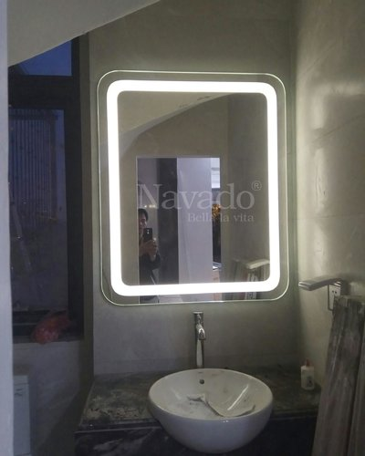 Gương nhà tắm led trắng bo góc KT 60x80cm