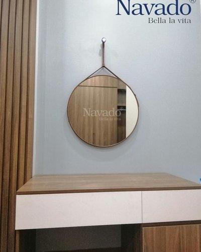 Gương tròn treo dây da trang điểm phòng ngủ 50cm