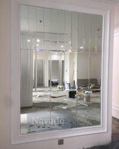 Gương ghép tường phòng khách hình chữ nhật