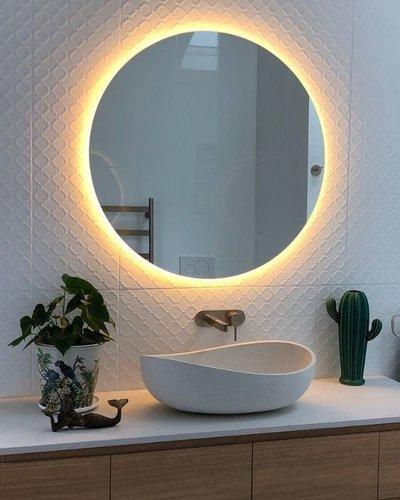 Gương phòng tắm tròn đèn led 80 cm