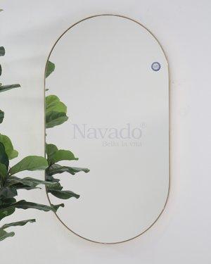 Gương phòng tắm bo đầu viền inox