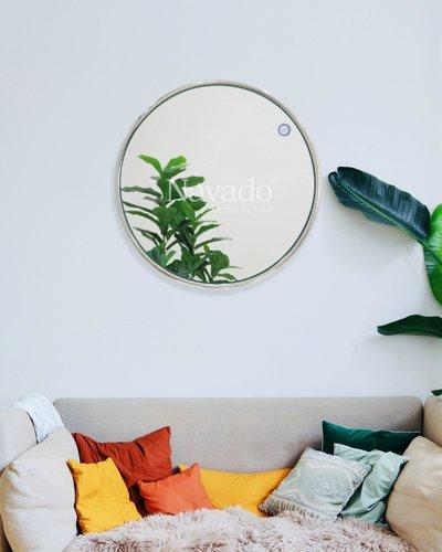 Gương tròn viền inox treo tường