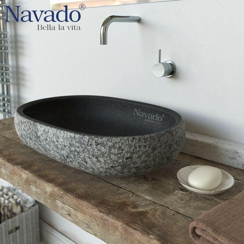 Chậu lavabo rửa mặt đá cuội tự nhiên
